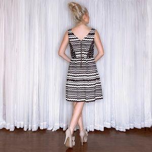 Julian Taylor Dresses - Black White Stripe Fit Flair Sundress